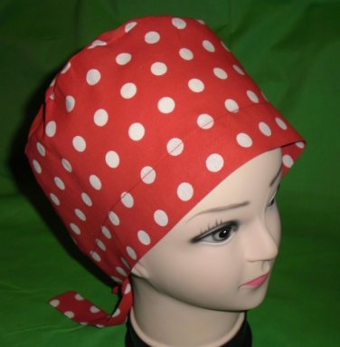 Ladies Surgical Scrubs Scrub Cap Pixie Hat Medical Caps Red With White Polka Dots