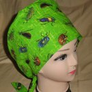 Pediatric Nurses Scrubs  Surgical Scrub Cap Hat Pixie Tie-Back LOTS OF BUGS