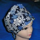 Ladies Surgical Scrubs Scrub Cap Pixie Hat Seasonal Medical Caps Glistening Snowflakes Blue