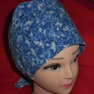 Ladies Surgical Scrubs Scrub Cap Pixie Hat Medical Caps Winter Wonderland Blue & Silver