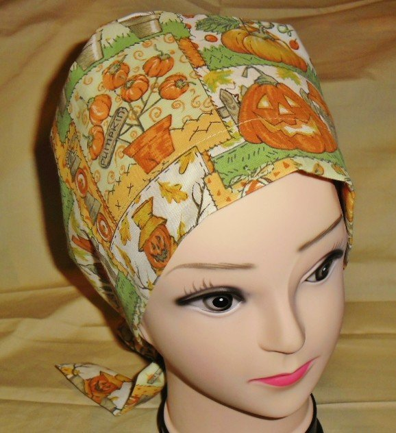 PIXIE SCRUB CAP HALLOWEEN SCARECROWS / JACK'O'LANTERNS FALL SEASONAL