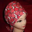 Nurses Scrubs Valentine Scrub Caps Lots Of Hearts Women Surgical Ladies Pixie Cap