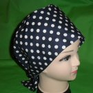 Ladies Surgical Scrubs Scrub Cap Pixie Hat Medical Caps Navy With White Polka Dots