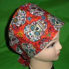 Girlie Skulls And Flowers Nurses Scrubs Hat Ladies Hats Pixie Scrub Caps Surgical Cap Hat Red