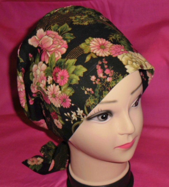 Ladies Nurses Scrubs Hats Women Pixie Scrub Caps Surgical Cap Medical Hats Flowers Edged In Gold