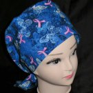 Breast Cancer Awareness Nurses Scrubs Hat Ladies Hats Pixie Scrub Caps Surgical Cap Hat Blue
