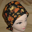 Fall Harvest Black Metallic Nurses Scrubs Hat Ladies Hats Pixie Scrub Caps Surgical Cap Chemo Hat