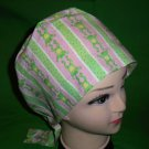 Pixie Tie Back Nurses Ladies Scrub Caps Medical Surgery Hat Little Green Frogs