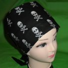 Nurses Ladies Surgical Scrubs Scrub Hat Cap Cancer Recovery Chemo Caps Black With Silver Skulls
