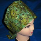 Ladies Hospital Scrub Hats Nurses Scrubs Scrub Cap Pixie Scrub Caps PEACOCK FEATHERS SAGE
