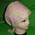 Pixie Tie Back Nurses Ladies Scrub Caps Medical Surgery Hat Big Green Frogs