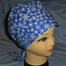 Christmas Winter Snowflakes Bright Blue Nurses Scrubs Surgical Scrub Cap Hat Pixie Tie-Back