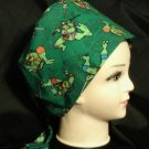 Handmade NINJA TURTLES Pediatric Nurses Scrubs Hats Surgical Scrubs Scrub Caps Ladies Pixie Hat