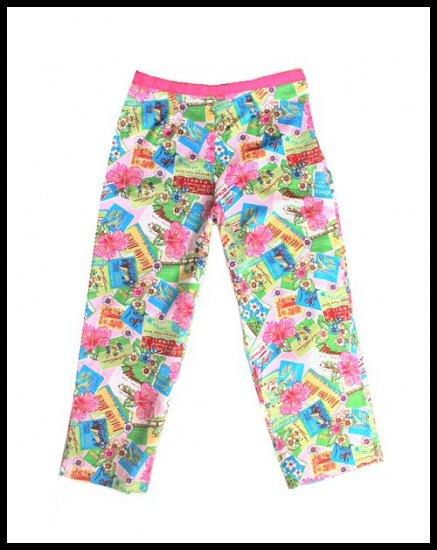Bamboo Traders Pink Hawaii Novelty Print Capri Pants Size 10 (M) Medium