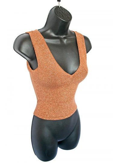 Bebe Shiny Bronze Sparkly V-Neck (Front and Back) Club Top Size Medium (M)