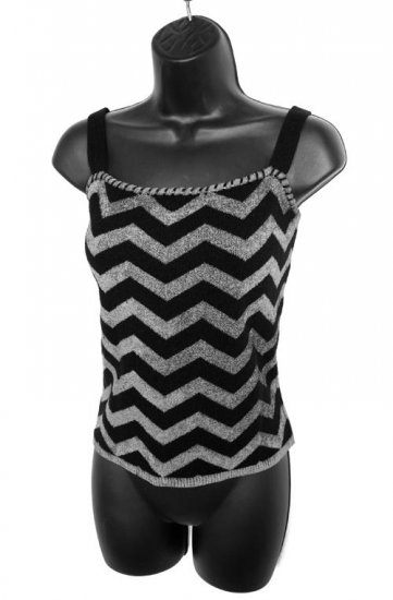 Dana Buchman Black Charcoal Gray Wool ZigZag Knit Sweater Style Shell Camisole Size Medium (M)
