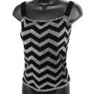 Dana Buchman Black Charcoal Gray Wool ZigZag Knit Sweater Style Shell Camisole Size Medium (M)