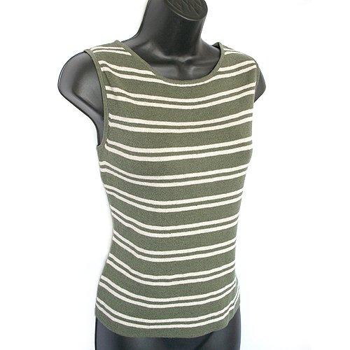 Chico's Olive Green/Cream Striped Sleeveless Sweater/Shell/Tank Size 1 (S/M Small/Medium 8/10)