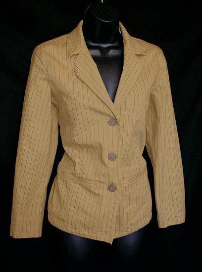 Chico's Tan Pinstripe Cotton Blazer/Jacket Size 0 (Small S 4/6)