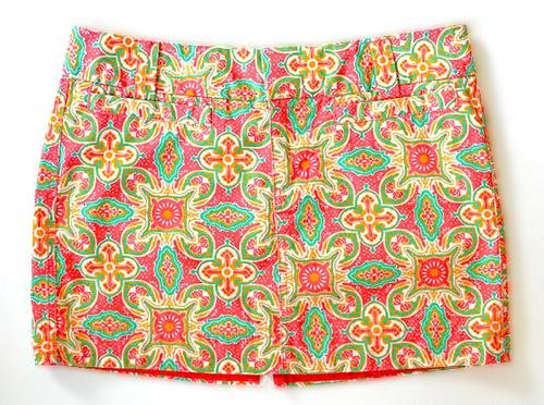 Old Navy Stretch Pink Orange Teal Print Mini Skirt Size 8 (M) Medium