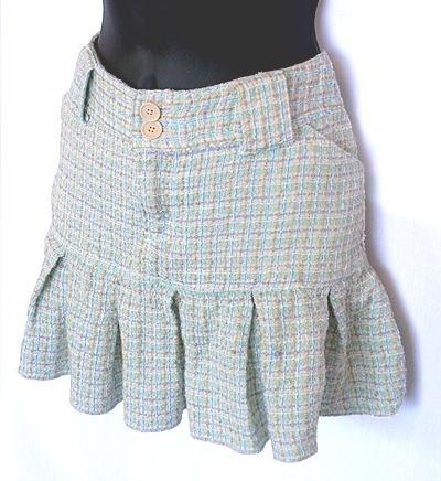 AEROPOSTALE Light Blue Boucle Tweed Pleated Schoolgirl Skirt Size 9/10