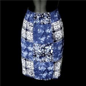 Carole Little Sport Petites Blue Batik Beach Skirt Size 8P 8 P