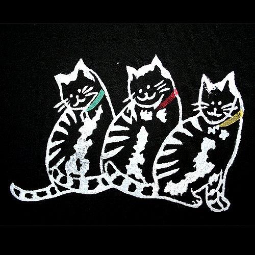 Tee-Time Cat Lady Hand-Printed Black Long Cotton Cat Theme Dress Size Medium (M)