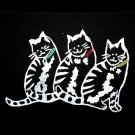 Tee-Time Cat Lady Hand-Printed Black Long Cotton Cat Theme Dress Size Medium (M)