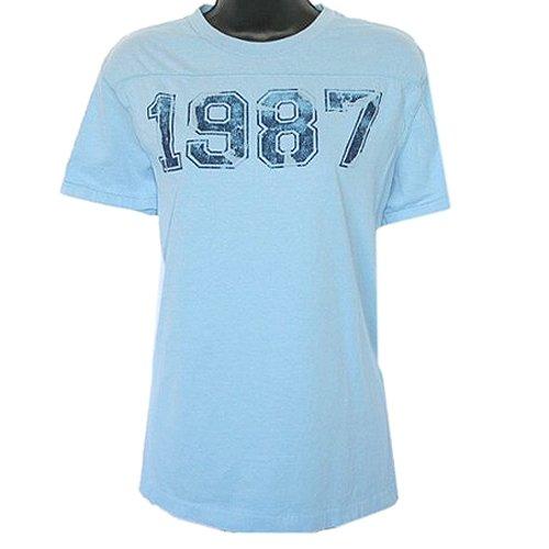Aeropostale 1987 Football Style T-Shirt Light Blue Size Women's Size Large (L)