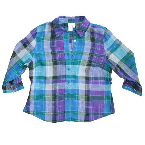 COLDWATER CREEK Purple Teal Plaid Linen Blend Shirt/Top/Blouse Size XL