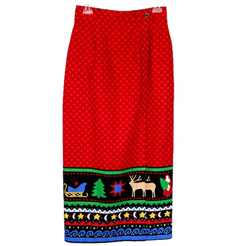 Primitive Print Christmas Holiday Long Wrap Skirt Size 8