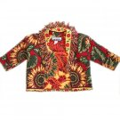 Unge-Potch-Ket Tapestry Sunflower Theme Cropped/Tiny Jacket with Fringe Size XS