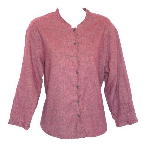 J Jill Super-Soft Dark Mauve Button Front Shirt/Top Size Large (L)