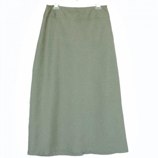 J Jill Long Sage Green Linen A-Line Skirt Size 12 (Large) L