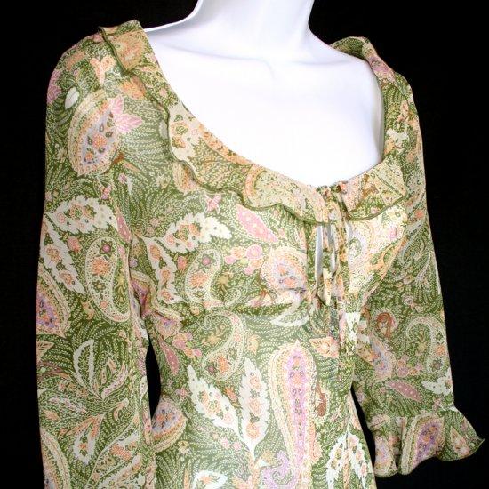 Hallhuber Long Sheer Paisley Keyhole Neckline Ruffle Peasant Dress Size 38 Medium (10 US)