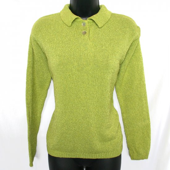 Saks Real Clothes Lime Green Silk Blend Polo Sweater Women's Size Large (L)