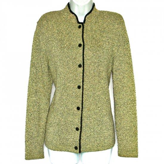 Mark Shale Lime Green Nubby Knit Sweater Jacket Size Medium (M)