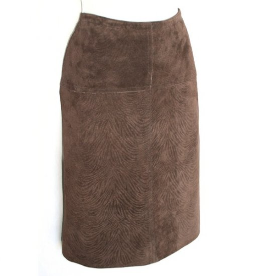 Luciano Dante Chocolate Tiger Stripe Suede Skirt Size Small (S) New