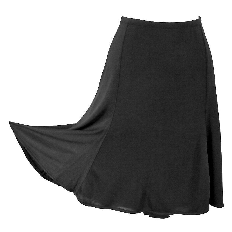 Ann Taylor Flirty Black Stretchy Silk Knit Skirt Women's Size Large (L)