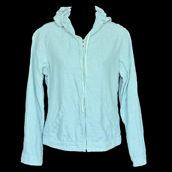 so be it Sigrid Olsen Aqua Blue Linen Zip Front Hoodie Women's Size Small (S)