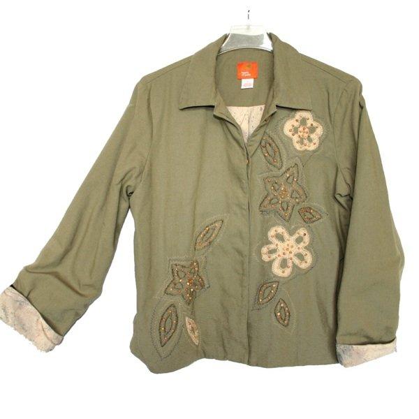 Hearts of Palm Khaki Olive Beaded Embellished Jacket Women's Size 12 (Large) L