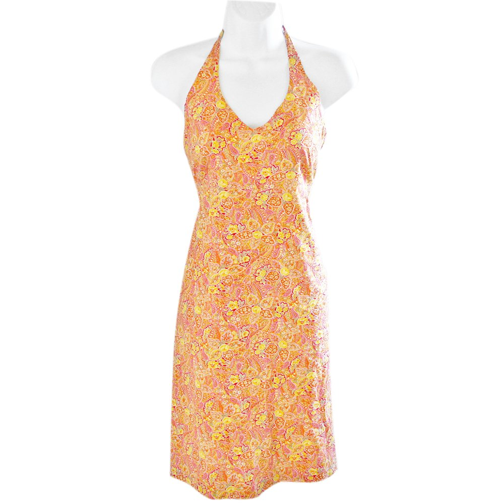 J McLaughlin Orange Floral Paisley Print Halter Cotton Sun Dress Sundress Women's Size 8 (Medium) M
