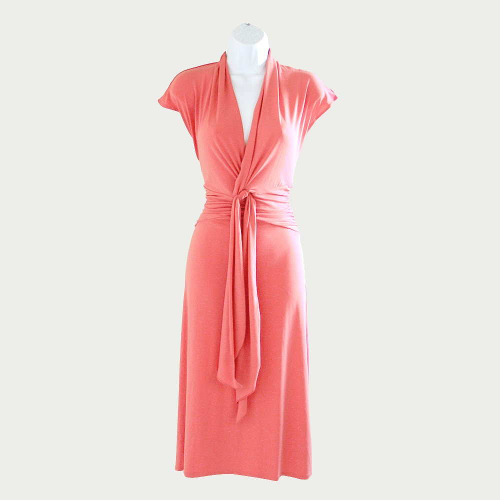 Max and Cleo Twist Neckline Tie Fabulous Fit & Drape Coral Dress Women's Size Medium (M)