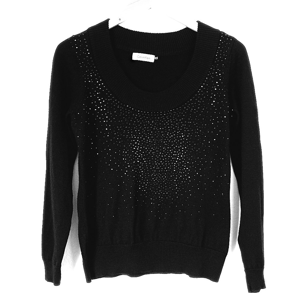 Calvin Klein Black Rhinestone Sparkle Wide Scoop Neck Sweater Women's Size Small/Medium (S/M)