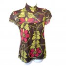 Sweet Pea Mod Floral Babydoll A Line Flowy Mesh Top Shirt Women's Size Small (S)