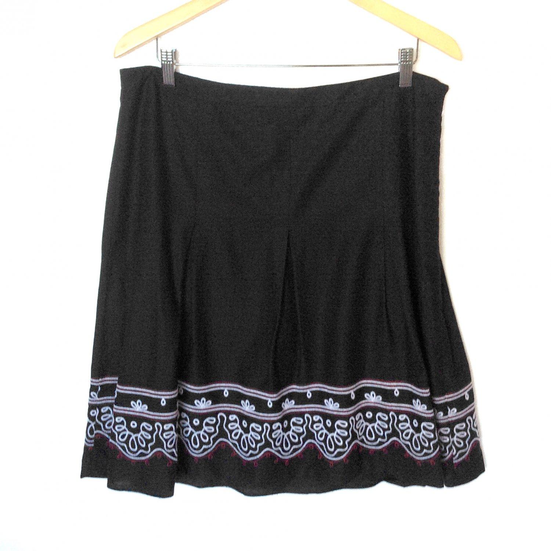 Ann Taylor Loft Mexican Boho Hippie Embroidered Linen Cotton Skirt Women's Size 12 (Large) L