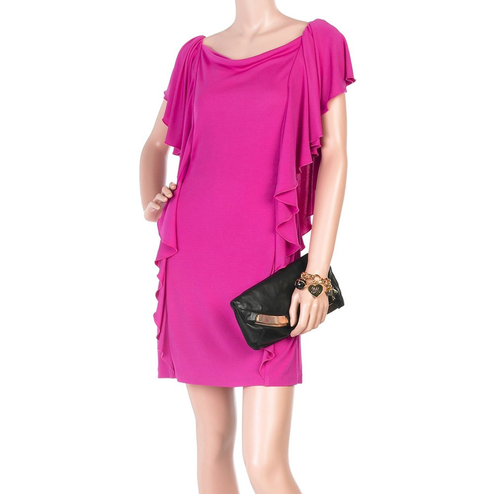 Diane von Furstenberg Hazelle Ruffle Dress Pink Women's Size 2 (XS) Brand New - Was $385