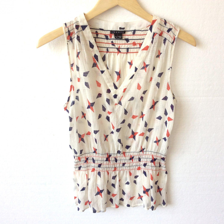 Theory Cream Red Navy Blue Crinkle Semi Sheer Thin Blouse Cotton Silk Women's Size Medium (M)