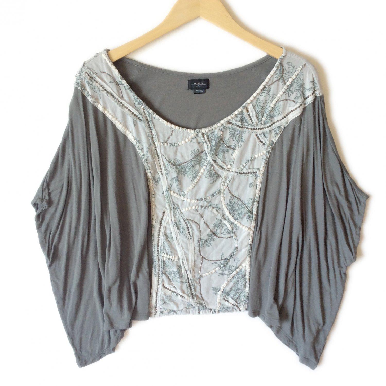 Anthropologie Deletta Gray Batwing Knit Top Shirt Boho Hippie Women's Size Medium (M) New