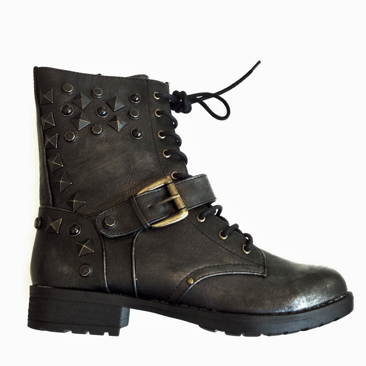 MIA Spikke Black Womens Studded Boots Metallic Black Size 8.5 M New Was $79 now $40